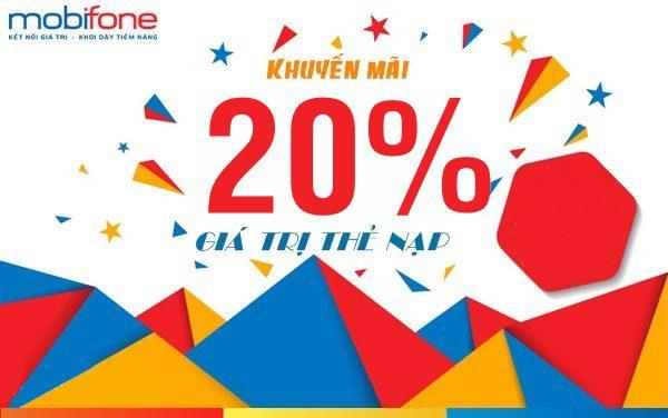 Mobifone khuyến mãi tặng 20% thẻ nạp trong ngày vàng 12/06/2019